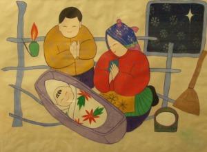 00095K08 Jozef, Maria en Jezus in de stal van Bethlehem
