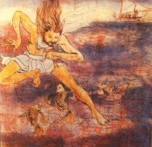 00196K17 De storm op zee: Jezus keert zich tot de vissen