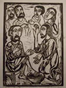 Jezus wast de voeten van de leerlingen